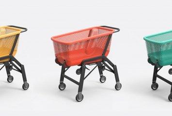 עגלת קניות המתקפלת בעצמה לתא המטען של הרכב.